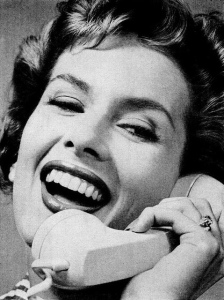 Woman on 1950s telephone