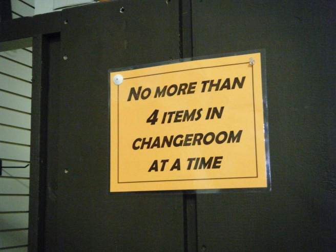 sign on changing room door
