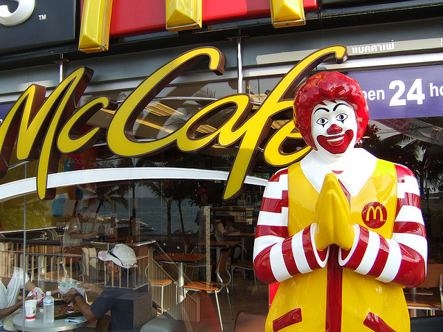 Ronald McDonald outside McCafe