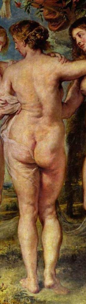 painting detail of the three graces by Ruben