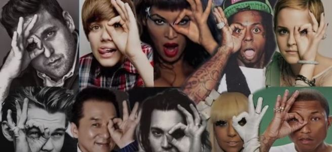 celebrities giving illuminati eye sign